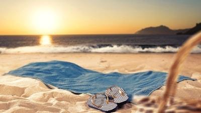 Solnedgang på stranden